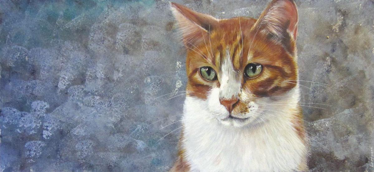 Peinture chat roux laure simonin peintures - Mon chat me colle plus que d habitude ...